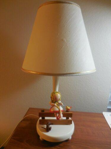 VINTAGE NURSERY PLASTIC,INC LAMP-GIRL CHILD KNITTING with DOG
