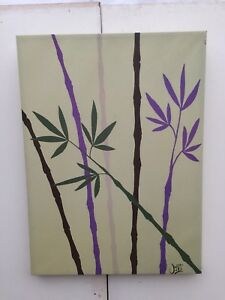 Bamboo stalks print on canvas