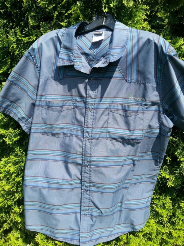 PATAGONIA Men's Large Hiking Camping Shirt Blue Brown Gray Poly Short Sleeve