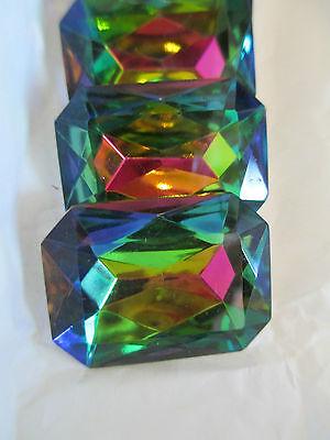 1 Dozen Vintage W. Germany 30x22mm Iridescent Rectangle Rhinestones - Colors!