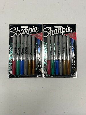 Lot Of 2 Sharpie Metallic Permanent Markers Fine Point Assorted Colors 6-count