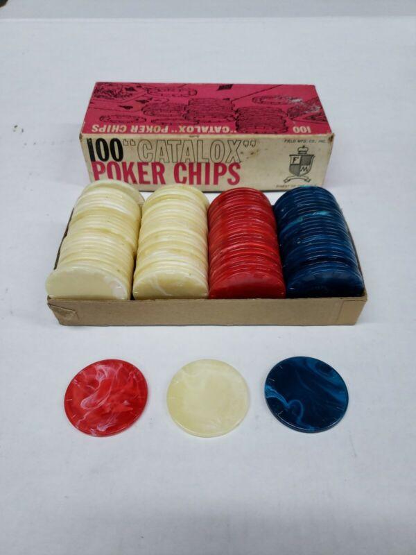 "Catalox Marbled Poker Chips Box of 100 Vintage Field MFG. Co. 1 1/2"" diameter."