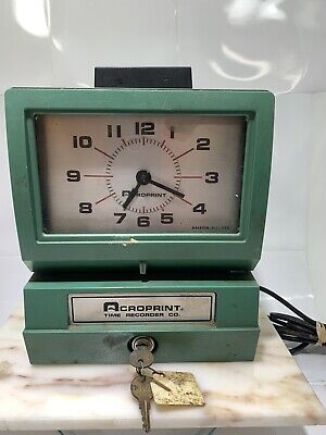 Acroprint Punch Card Time Clock System With 2 Keys - Needs Ribbon