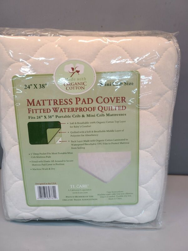 American Baby Company Waterproof Quilted Mattress Pad Cover Fits 24x38  Organic