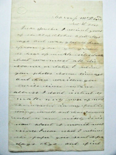 ARIZONA  TERRITORY LETTER  SOLDIER KILLED BY INDIANS 1867 CAMP MCPHERSON