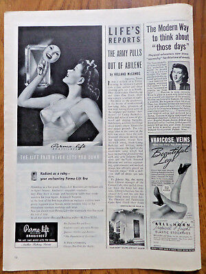 1945 Perma-lift Bra Brassieres Ad The Lift that Never Lets you Down