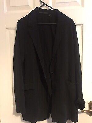 UNIQLO Black Faux Silk Relaxed Flowy Oversized Black Blazer w Pockets - Size XS