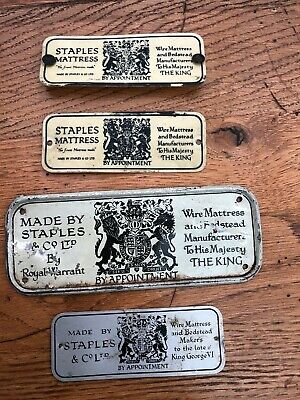 4 early 1900s ( staples bed plaques ) plastic and metal