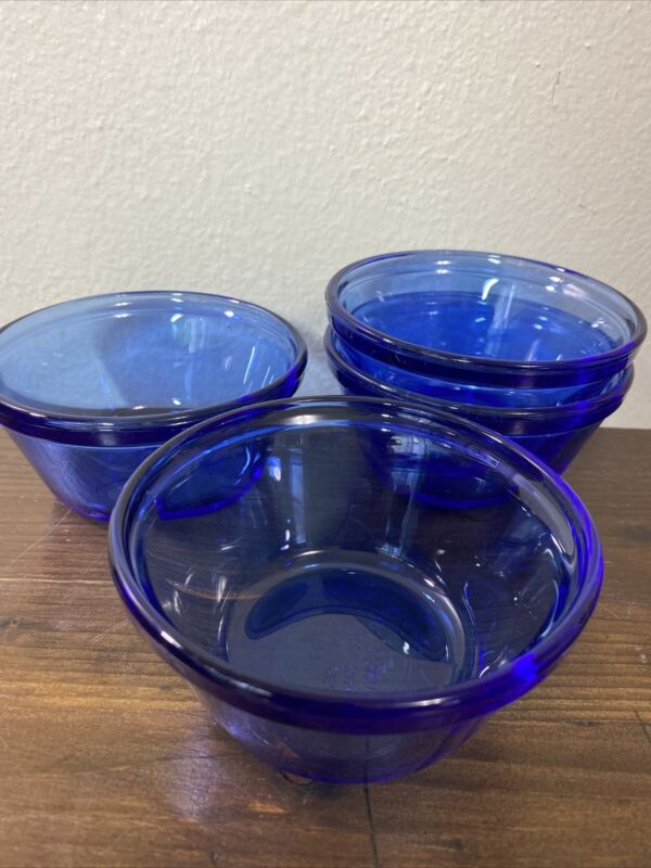 4 Cobalt Blue Custard Cups Anchor Hocking 1034 Ramekin Dishes 6 oz USA