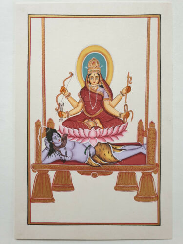 India Tantra Painting SHODASHI KALI TRIPURMahavidya Gouache/Watercolor 7in x 9in