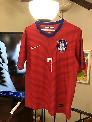 Park Ji Sung Nike Authentic Dri-Fit Home RED Korea Soccer Jersey KOREAN SIZE L
