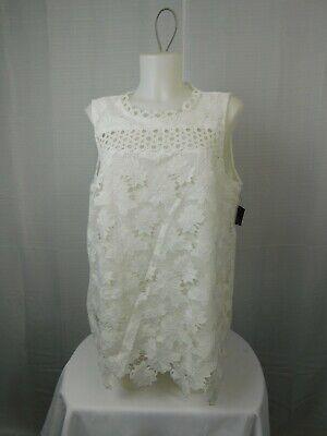 Alfani Prima Sleeveless Lace-Overlay Tank Top Size 16, Soft White #4282