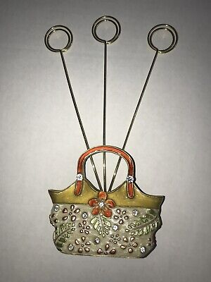 Vtg Desk Wire Memo Picture Holder Photo Note Clip Stand Handbag