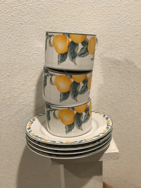Julie Pople Country Fruit Collection Set 3 Cups / 4 Saucers For Avon