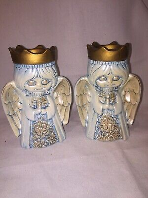Spooky Creepy Holiday Angels Blue Vintage Candle Holders Christmas Super cool