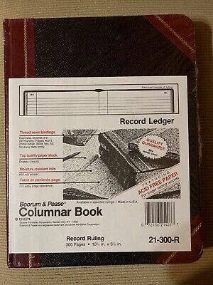 Boorum Pease Columnar Book Record Ruling 300 Pages 10 38 X 8 38 21-300-r