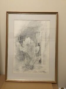 Vintage Signed framed 1973 pencil drawing