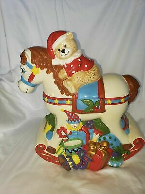 JC Penney Home Collection Ceramic Christmas Rocking Horse and Bear Cookie Jar