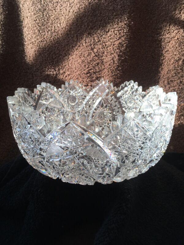"Pineapple Hobnob Mogen David Deep Cut Glass Bowl 8 1/4"" - Antique"