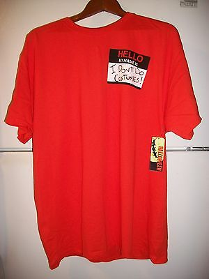 Halloween My Name Is  I Dont Do Costumes Orange Tee Adult  Xl46 48  New Free Sh