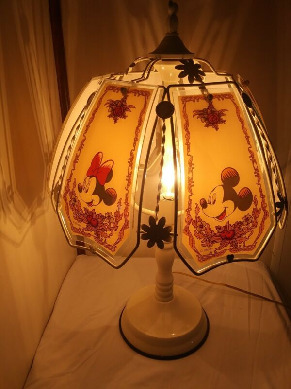 Rare Mickey Mouse & Minnie White & Glass Disney Touch Table Lamp Complete VTG