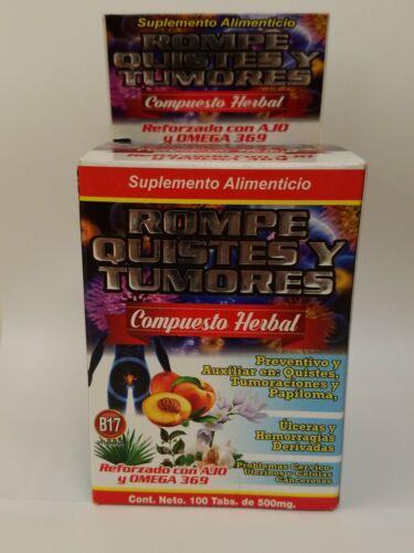 Rompe Quistes & Tumores B17 100%Natural (Reforzado con Ajo & Omega 369) 100tab.