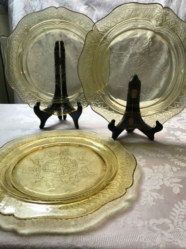 Federal Glass Patrician Amber Depression Glass Dinner Plates 11 In Set of 3