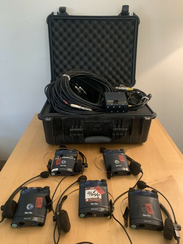 Clear-com 5 Station Production Communications / Intercom System *COMPLETE SET*