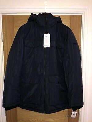 DKNY Navy Blue Quilted Mens Long Jacket Coat Ultra Loft Medium (M) BNWT RRP £349
