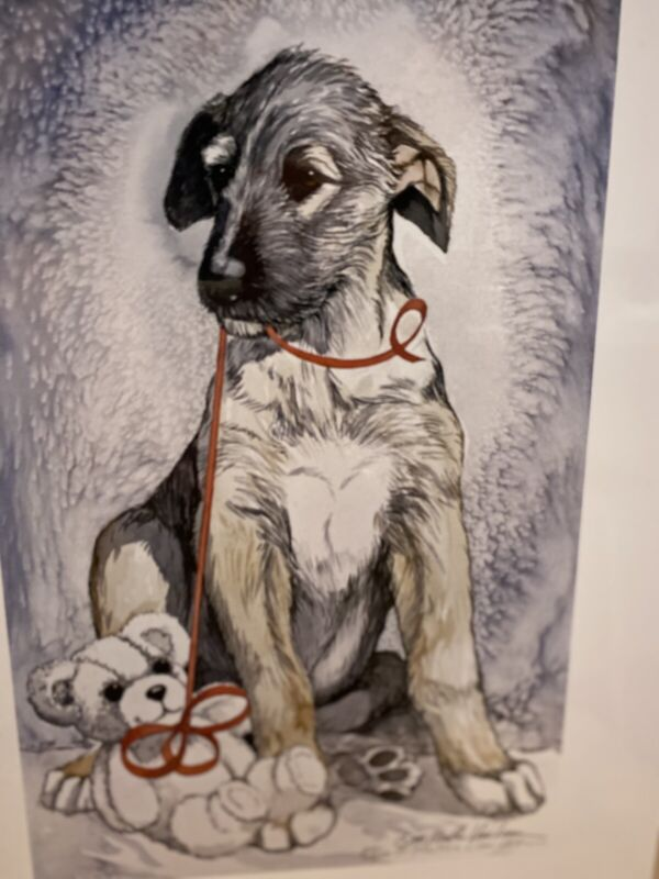 Irish Wolfhound Puupy With Teddy 11x14 Ltd Ed Print By Van Loan