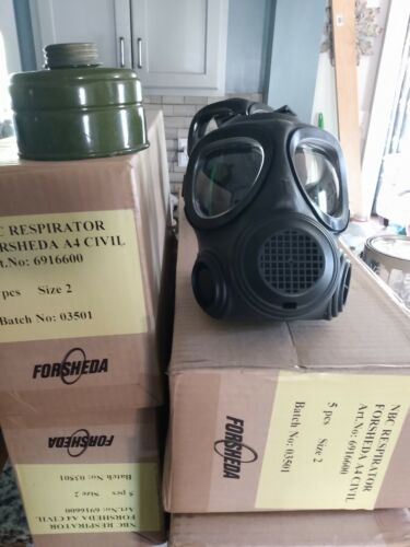 Forsheda A4 Nato Military respirator gas mask w/ NBC filter, SIZE 2, New