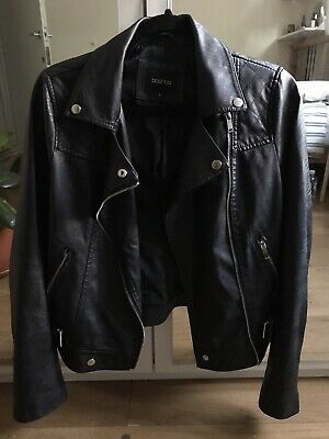 Boohoo Black Faux Leather Jacket Size L