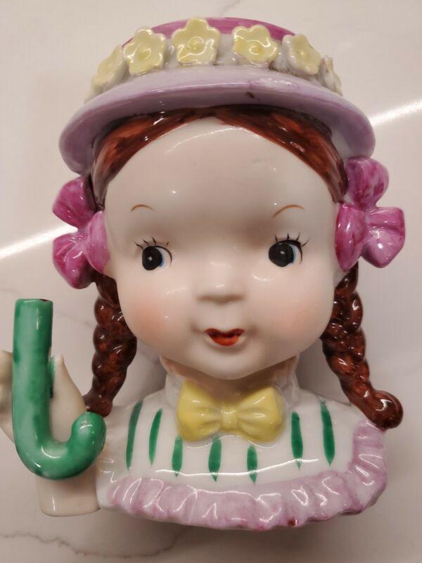 Vintage Lady Head Vase Pink/Lilac Brunette Braids Missing Umbrella