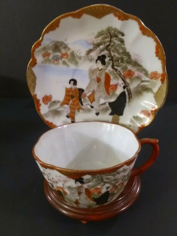 JAPANESE KUTANI EGGSHELL HAND PAINTED SIGNED TEA CUP & SAUCER