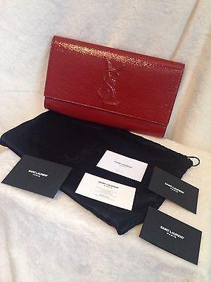 YSL Saint Laurent Belle De Jour CHINOIS RED Patent Leather Clutch Handbag - NEW!