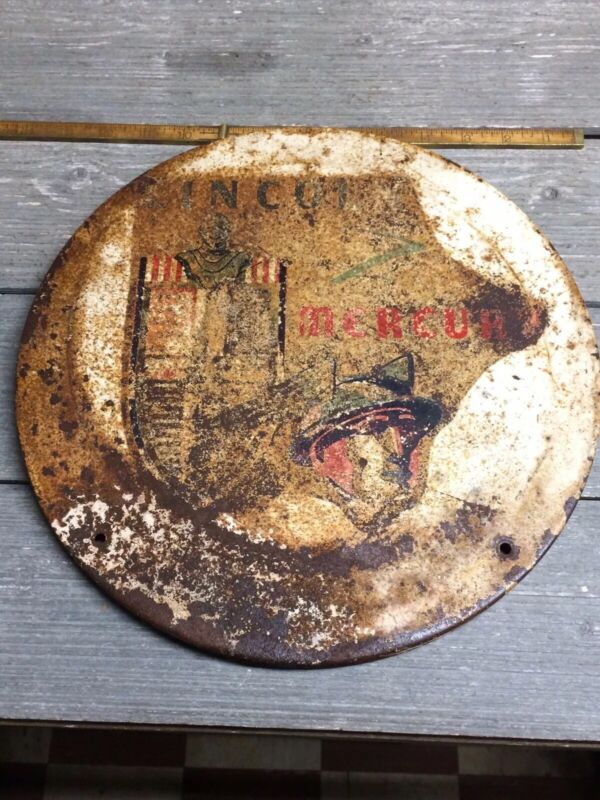 "Rare Lincoln Mercury Painted Dealer Sign 12-1/2"" Diameter 1940's"