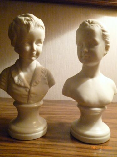 Sculptured Bust Statues/Figurines  -  Young Man and Lady - Ceramic - Bookends