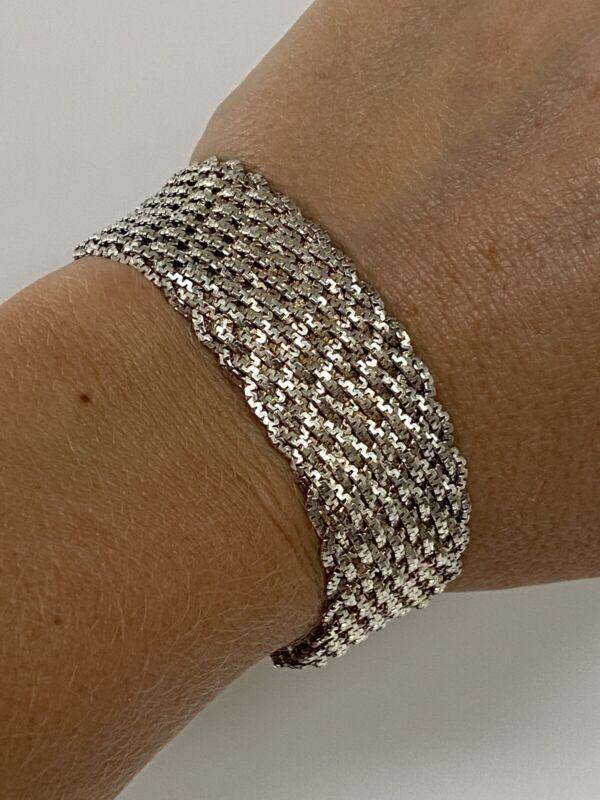 "Vintage IBB ITALY Woven Heavy Sterling Silver 925 Italy Modernist Bracelet 7.5"""