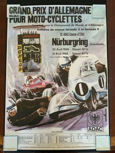 Very rare Original 1968 Nürburgring-Germany Motorcycles Grand Prix Poster FRENCH