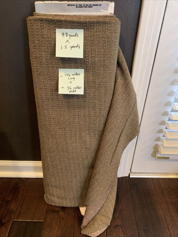 Vintage Wool Fabric Yardage 1.5 X 3.5 Yards Olive Burgundy Tweed Like Pattern