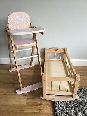 Tidlo Wooden Dolls High Chair & Dolls Cot (Pink & Natural)