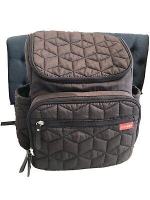 Skip Hop Forma Black quilted backpack Diaper Bag changing mat washable