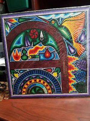 "New Wrap 12"" x 12"" HUICHOL YARN PAINTING Original Mexican Folk Art TEPEHUANO"