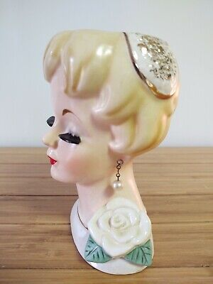 1950s Hats: Pillbox, Fascinator, Wedding, Sun Hats 1950's UCAGO Lady Head Vase with Pill Box Hat & Corsage Beautiful Elegant $139.95 AT vintagedancer.com
