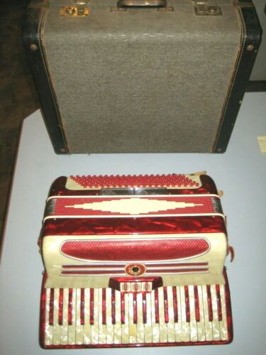 Vintage Red Mother of Pearl Chrome Accented 41 Key 120 Bass Accordion Italy