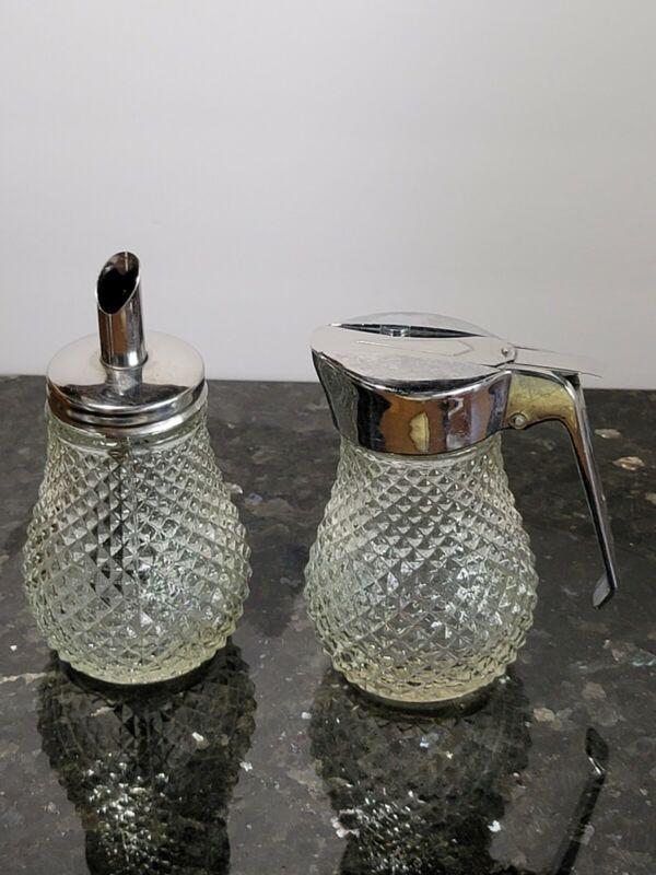 "Vintage Pressed Glass Diamond Point Sugar Pour Dispenser & Syrup Dispenser 4.5"""