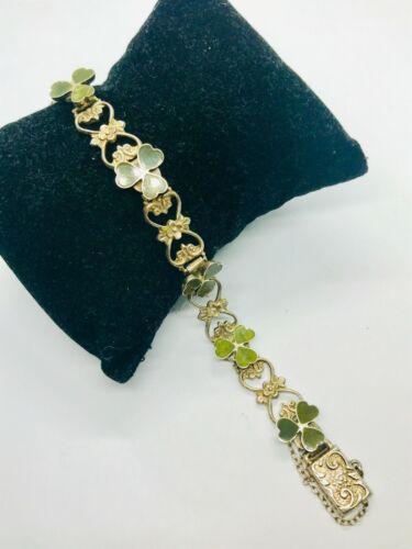 Vintage Silver & Connemara Marble Irish Lucky Shamrock  Link Bracelet, 15.8g