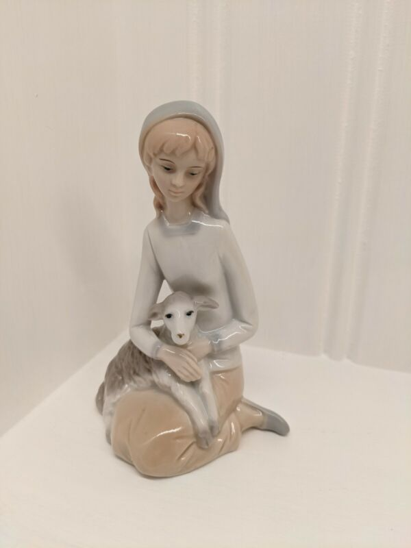 Vintage Shepherd Girl with Lamb Porcelain Figurine Christmas Theme Home Decor
