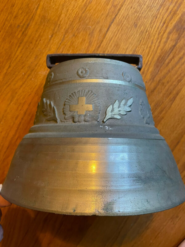 """Antique Gusset Uetendorf Solid Brass Bell 9"""" Dia. Large, Hard To Find Size!"""