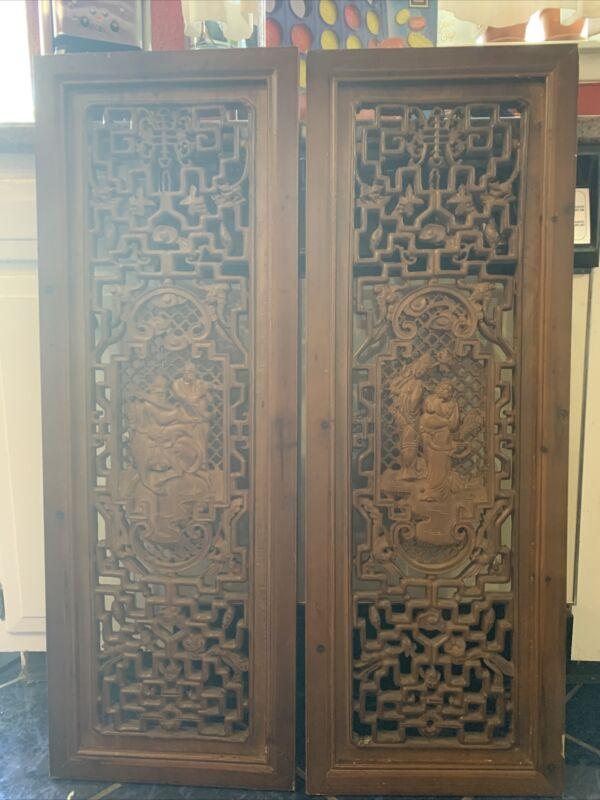 Antique Handcarved Japanese Cedar Panels